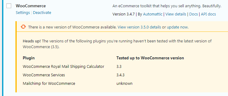 Warning error saying the following plugins have not been tested with the latest version of WooCommerce